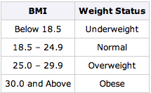 bmi values translated into weight status