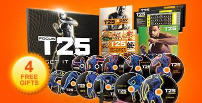 free shipping on Focus T25 home workout program